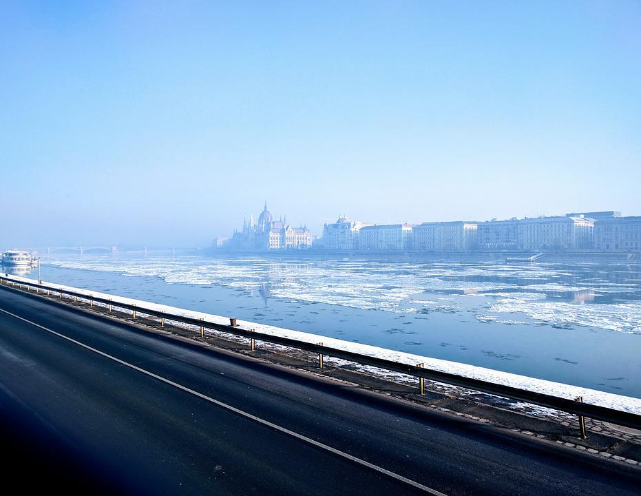 Budapest, Danube, Winter, Parliament, Ice, Water