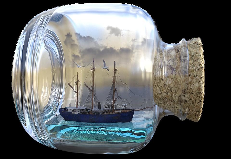 Buddelschiff, Ship, Bottle, Art, Cork, Glass