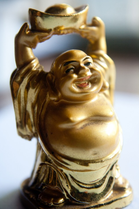Buddha, Laughing, Figure, Fat, Belly, Golden, Asian
