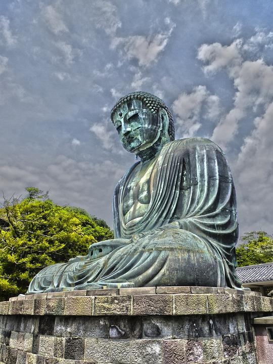 Japan, Statue, Bronze, Temple, Sky, Buddha