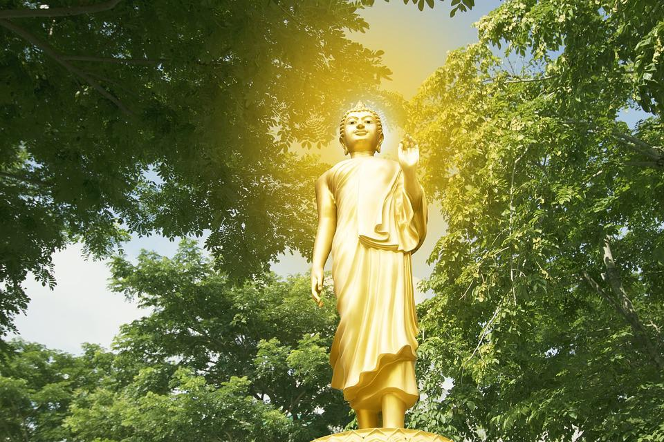 Buddha, Isolated, Gold, Golden, White, Statue, Thailand