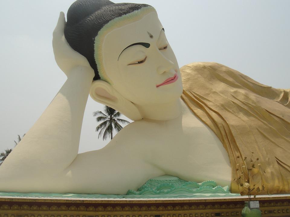 Buddha, Myanmar, Burma, Face, Serene, Reclining Buddha