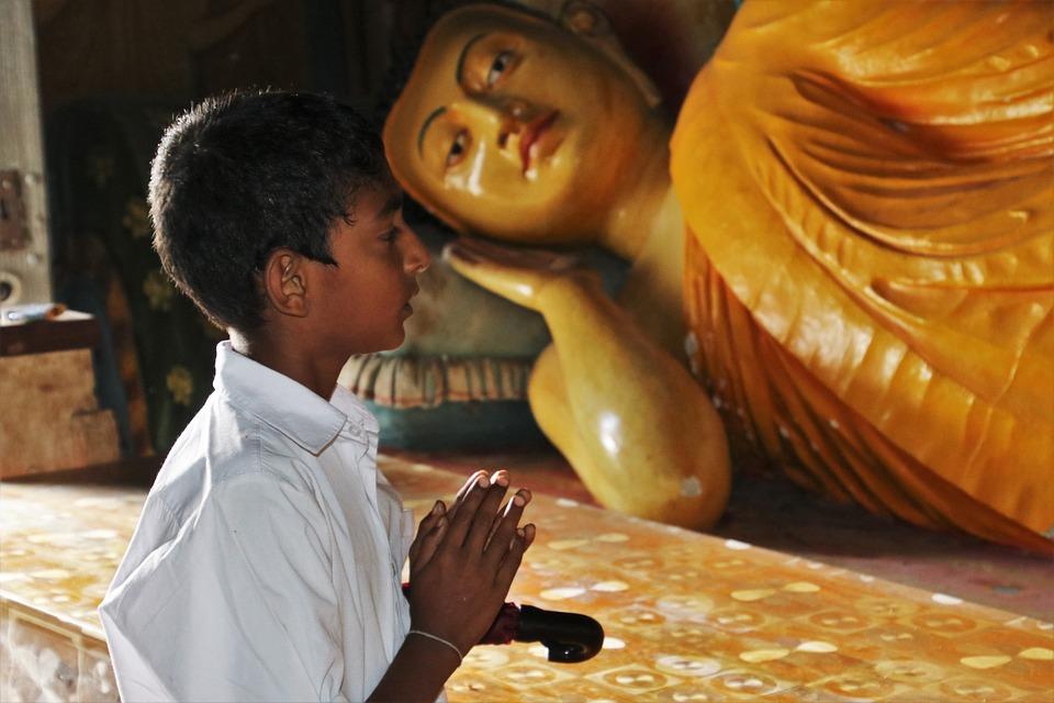Religion, Buddha, Child, Traditional, Golden, Clothing