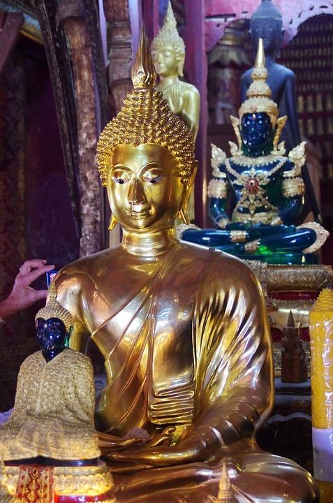 Laos, Luang Prabang, Temple, Buddha, Doré, Smile