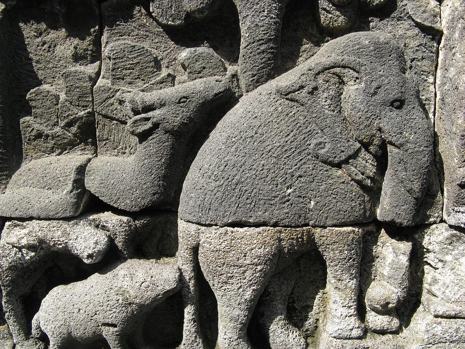 Wall, Elephant, Art, Buddhism