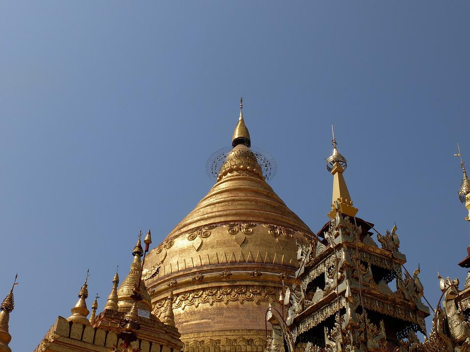 Burma, Temple, Gold, Pagoda, Buddhism, Dome, Religion