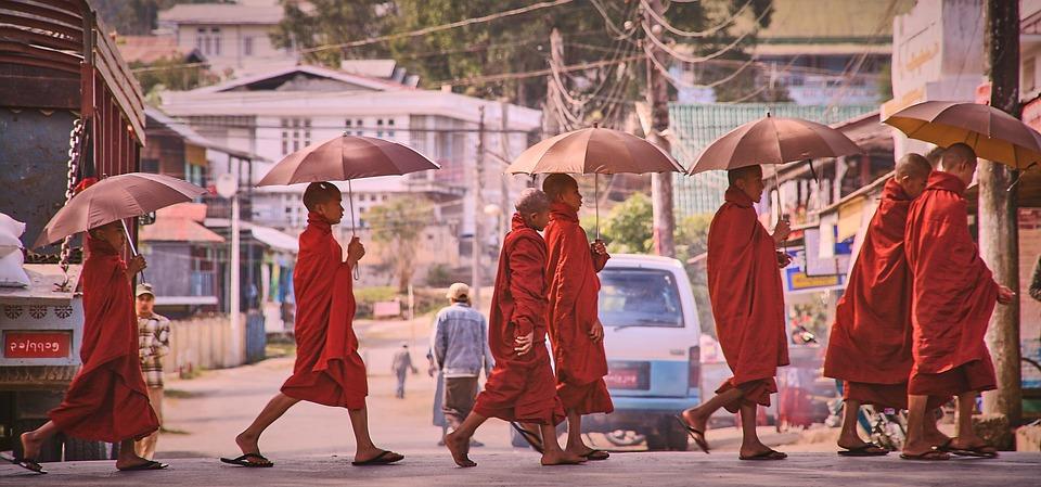 Monks, Umbrella, Road, Myanmar, Asia, Burma, Buddhism