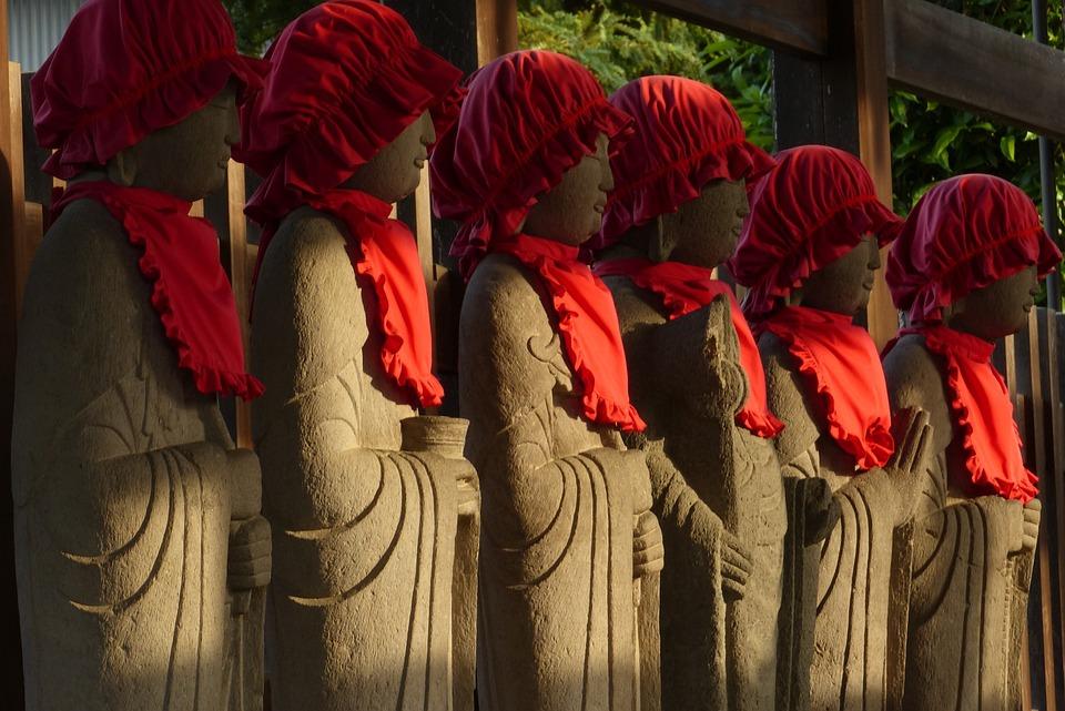 Jizo, Temple, Evening, Stone Statues, Buddhism, Japan
