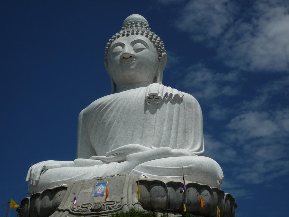 Buddhist, Statue, Big, White, Thailand, Phuket, Holiday