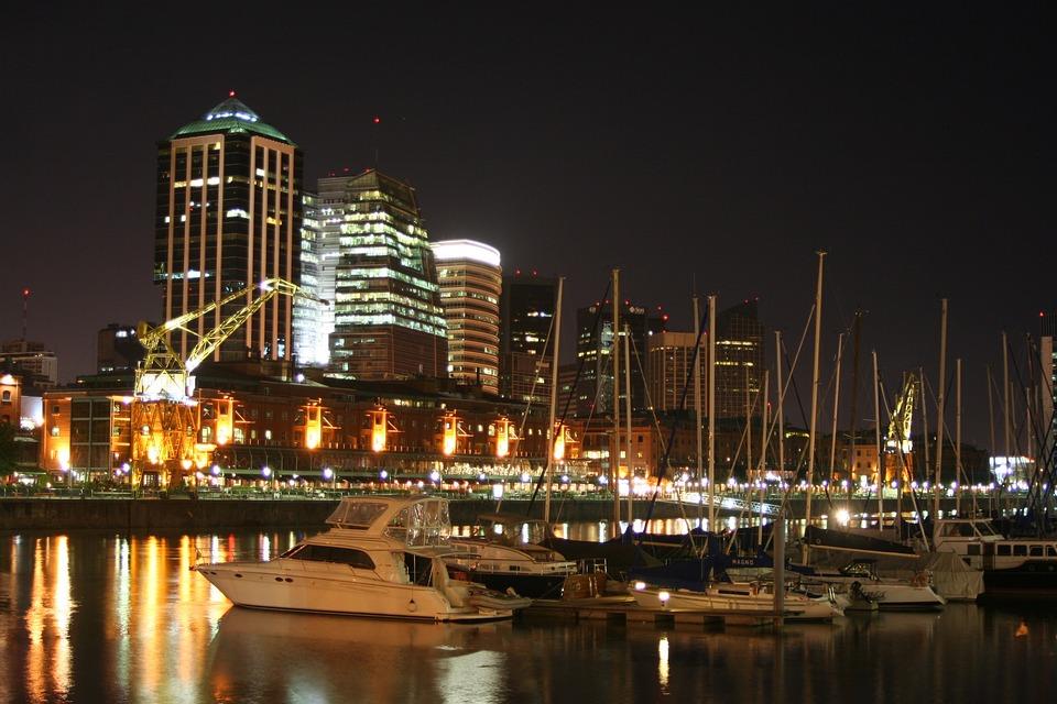 Log, Night, Port, Buenos Aires, Argentina, Cranes