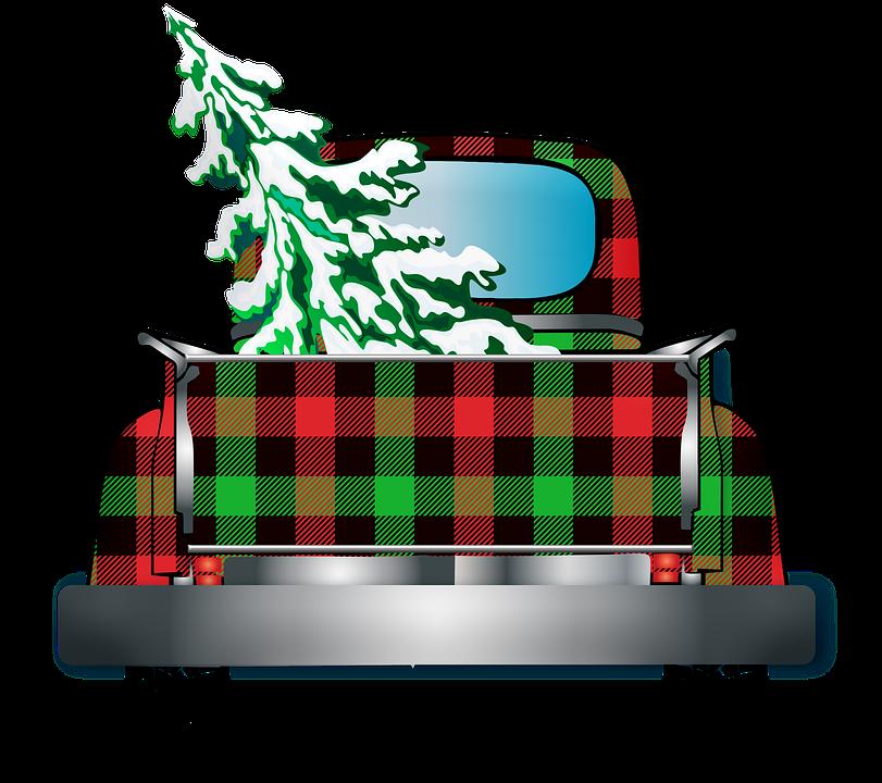 Truck, Christmas Tree, Buffalo Plaid, Pick Up Truck