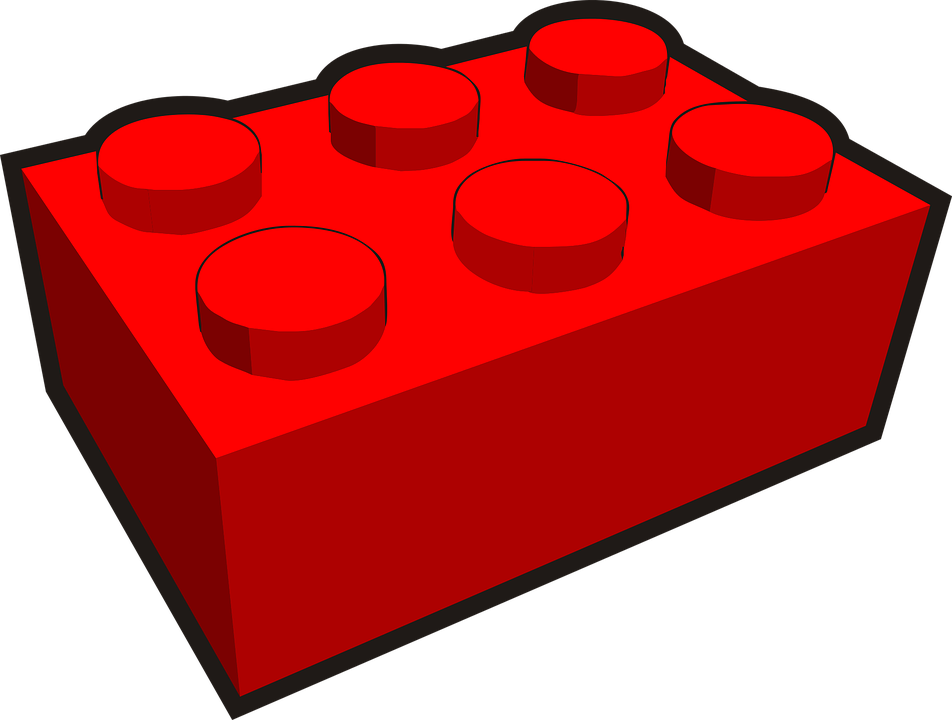 Building Block, Plastic, Toy, Red, Build, Architecture