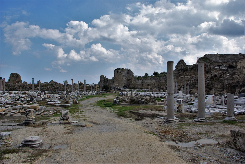 Ruin, Side, Turkey, Ruins Of Side, Building, Antiquity