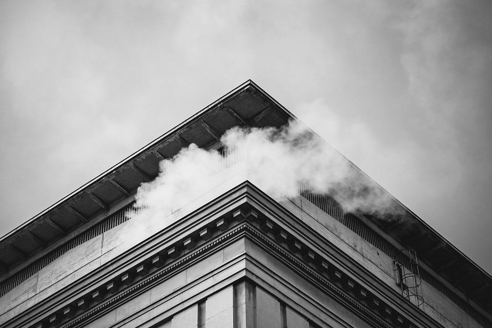 Building, Smoke, Sky, Architecture, Black And White