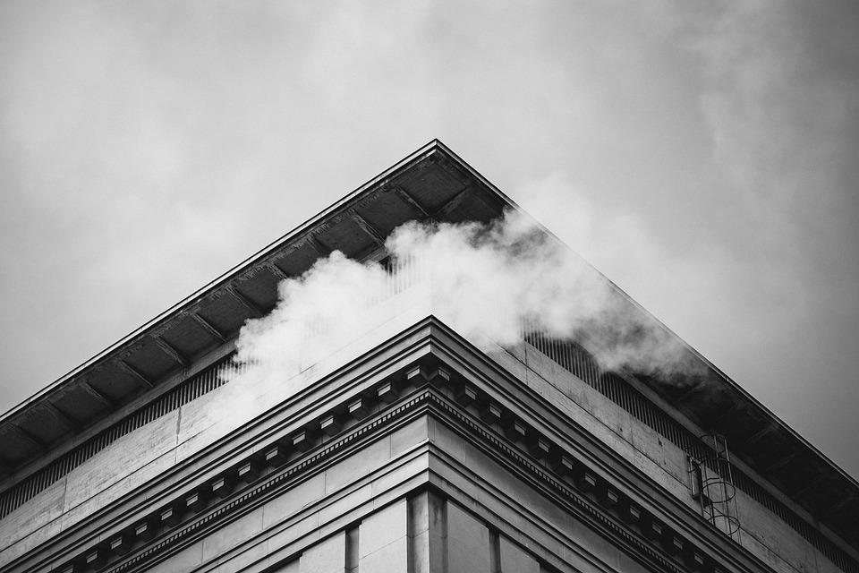 Building, Smoke, Sky, Architecture, Black And White