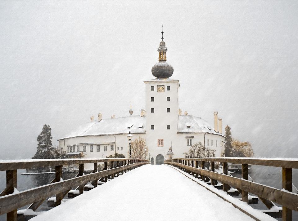 Travel, Architecture, Winter, Bridge, Building, Waters
