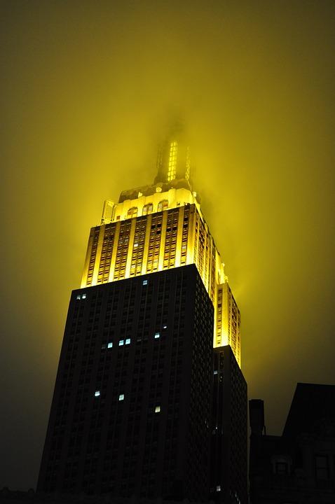 Fog, Spire, Albion, New York, Building, Chrysler Center