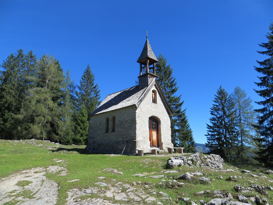 Chapel, Building, Church, Mountains