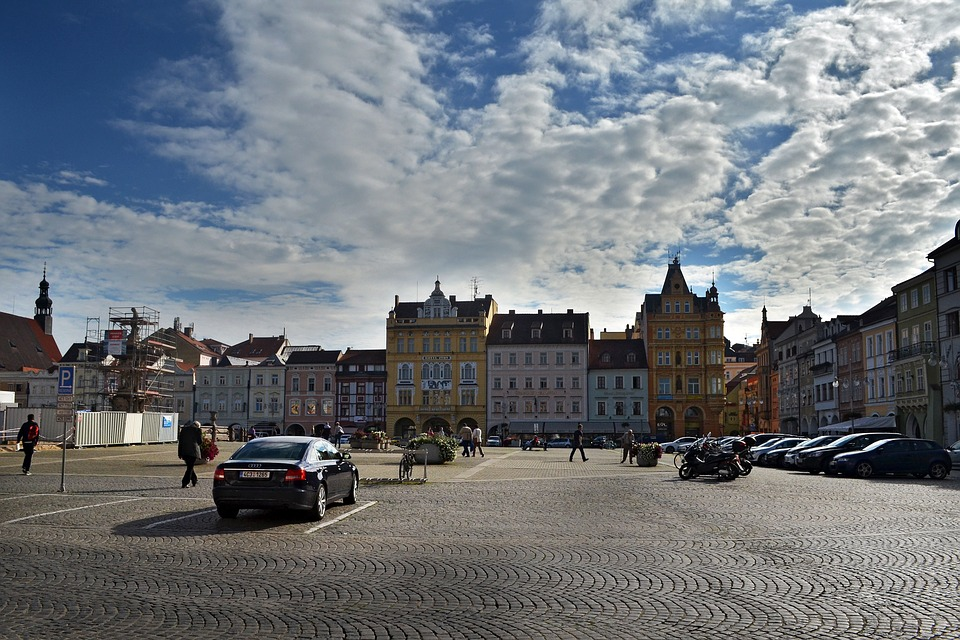 City, Old Town, Square, Czech Budejovice, Building