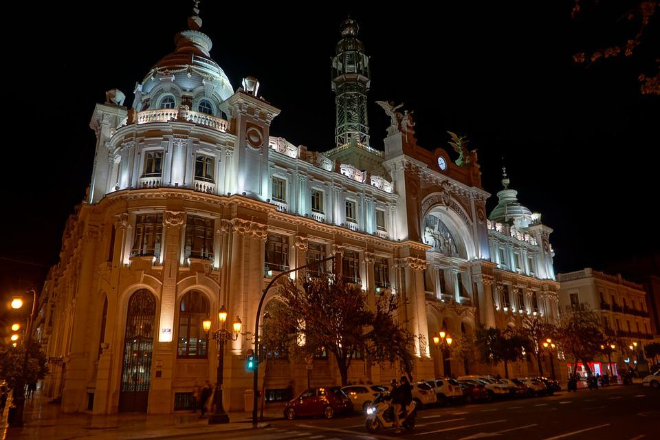 Valencia, Spain, Architecture, Building, City, Lighting