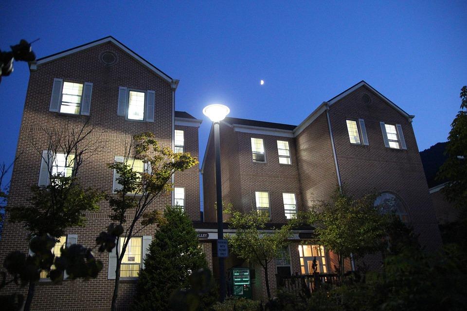 Night View, City, Building, Home, Street Lights, Night