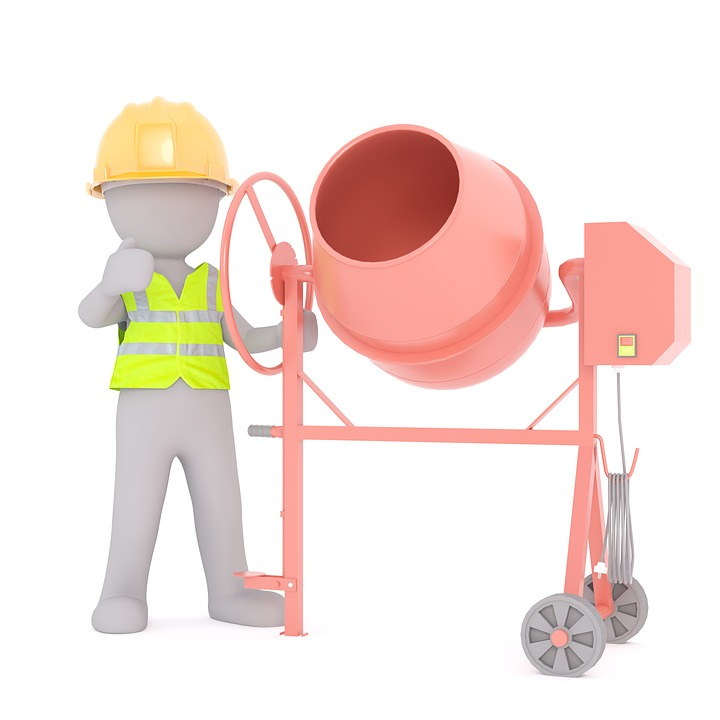 Building, Concrete Mixer, Construction