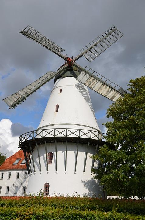 Denmark, Windmill, Building, Architecture, Travel