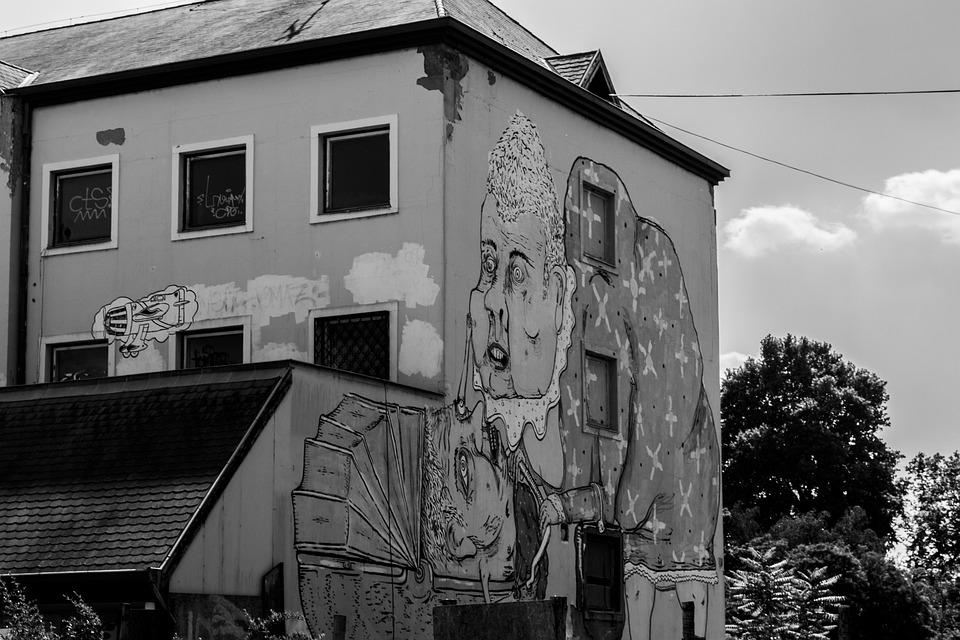 Doodle, Painting, Black, White, Art, Building