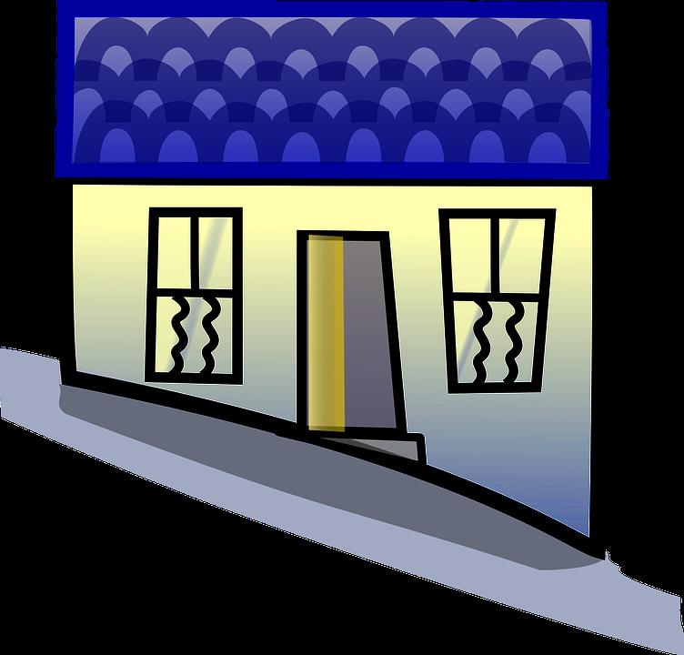Building, House, Home, Blue, Open, Hill, Windows, Door