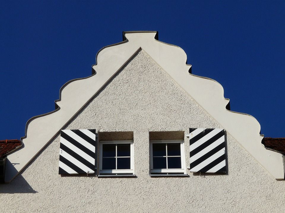 Facade, Building, Window, Gable, Roof, First, White