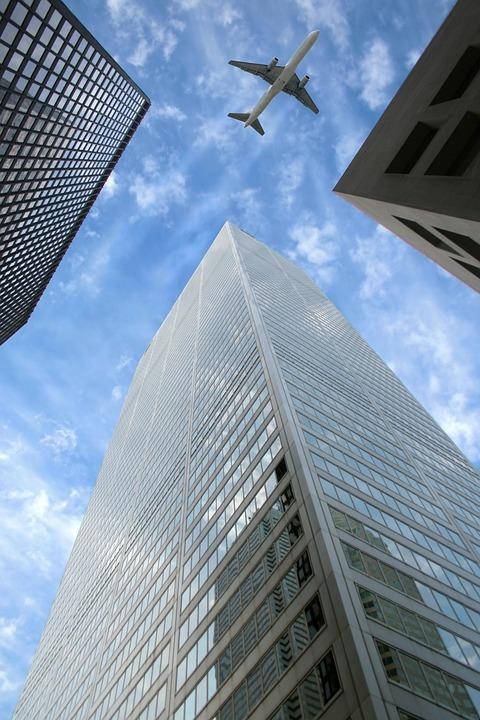 Downtown, Street, Building, Skyscraper, Flight, Flying