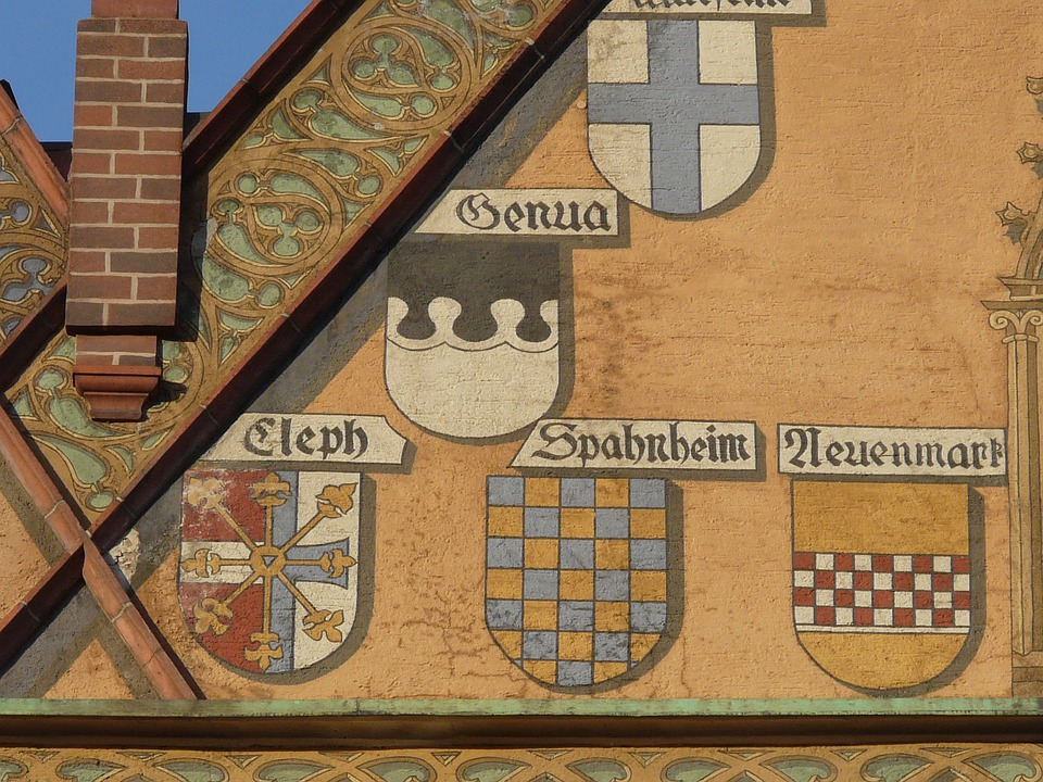 Facade, Building, Coat Of Arms, Gable, Fireplace
