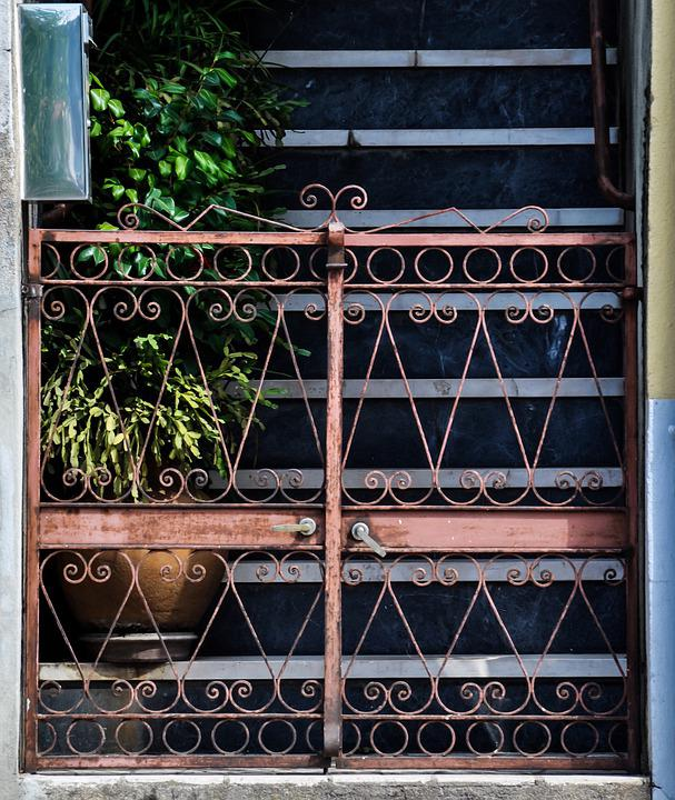 Gate, Stairs, Plants, Door, Old, Building, Staircase