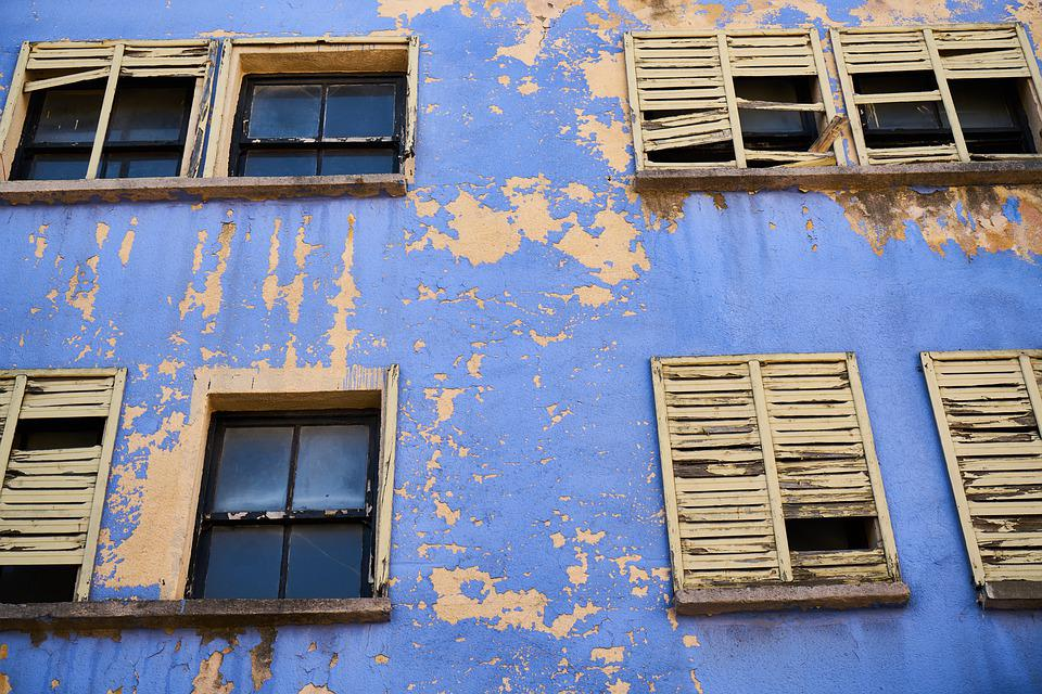 Home, Building, Old, Ruin, Yellow, Blue, Window, Paint