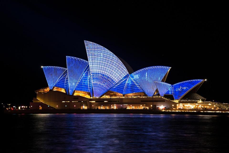 Sydney Opera House, Building, Architecture, Illuminated