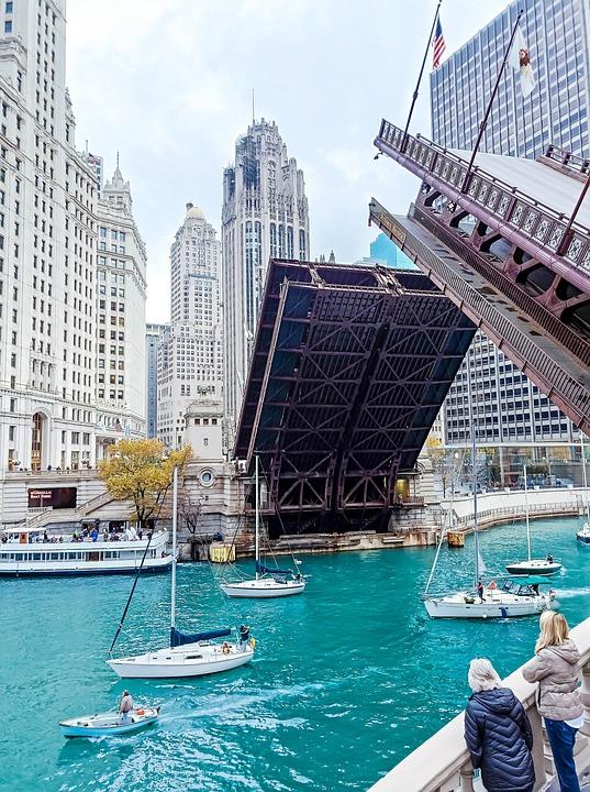 Chicago, City, Building, Bridge, Boat, Modern, Lake