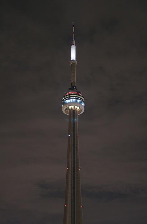 Architecture, Building, Cn Tower, Landmark, Night