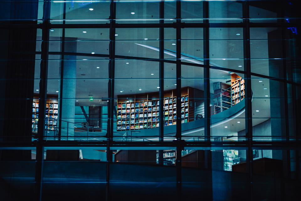 Architecture, Building, Library, Glass Windows