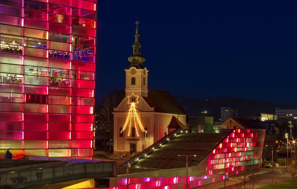 Architecture, Lights, Night, Building, Lighting