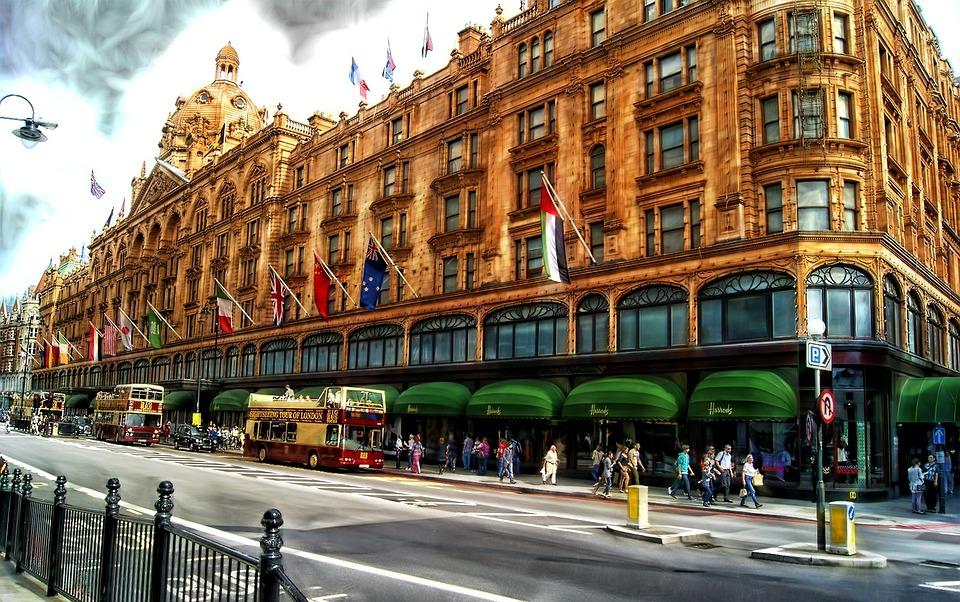 Building, Harrods, Landmark, Street, London, Clouds