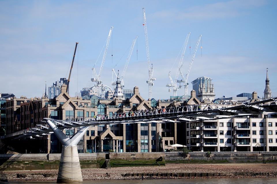 Millennium Bridge, Sky, Cranes, Building