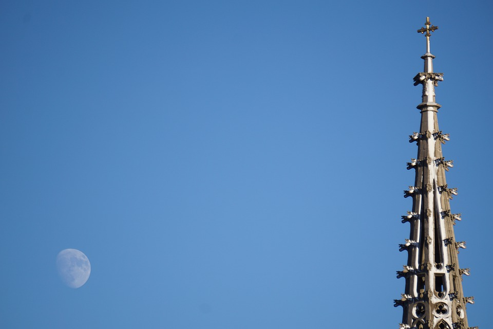 Moon, Church, Sky, Architecture, Building, Winter