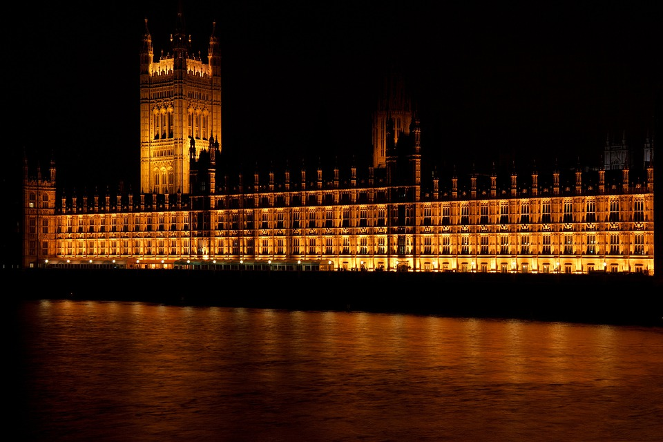 Westminster Palace, Building, Night, River, Facade