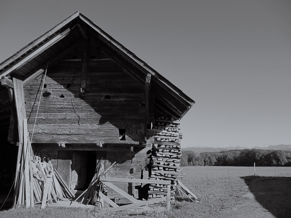 Building Old Barn Dilapidated Ruins Black And White