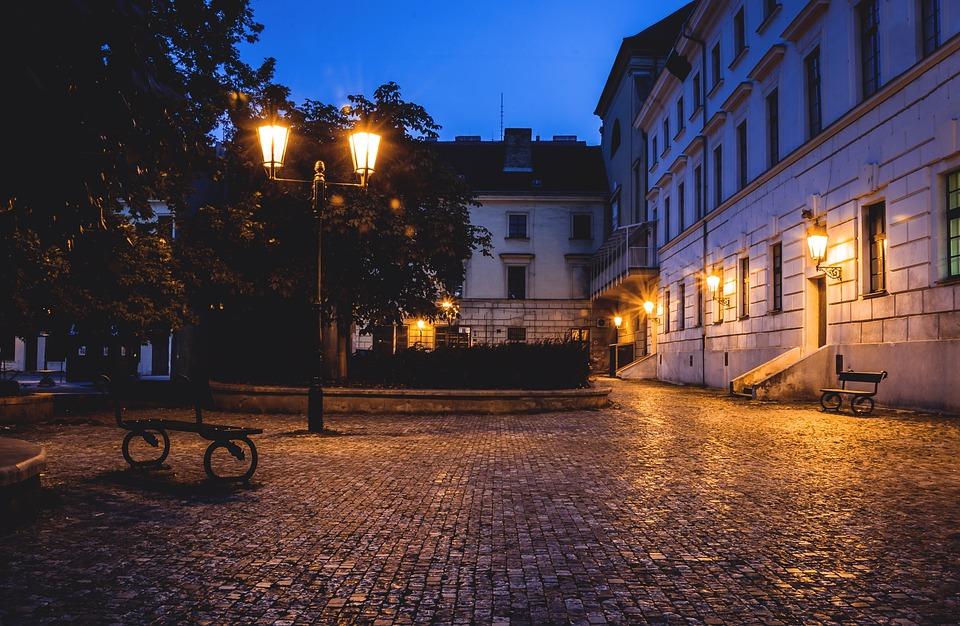 Lantern, Night, Night Shots, Pavers, Cube, Building