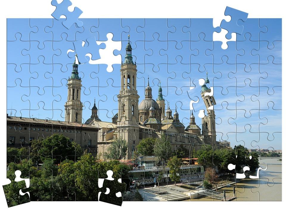 Zaragoza, Spain, Puzzle, City, Building
