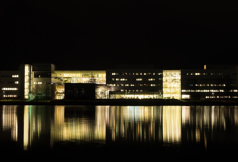 Building, Lake, Reflection, Night, Dark, Lights