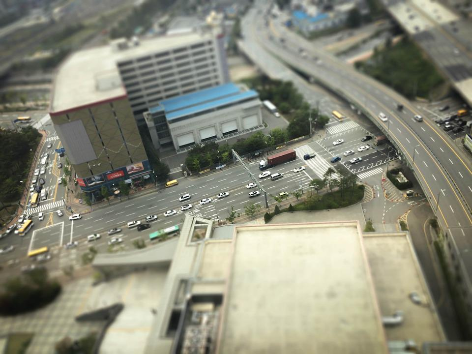 Miniatures, Road, High Rise, Car, Building, City, Face