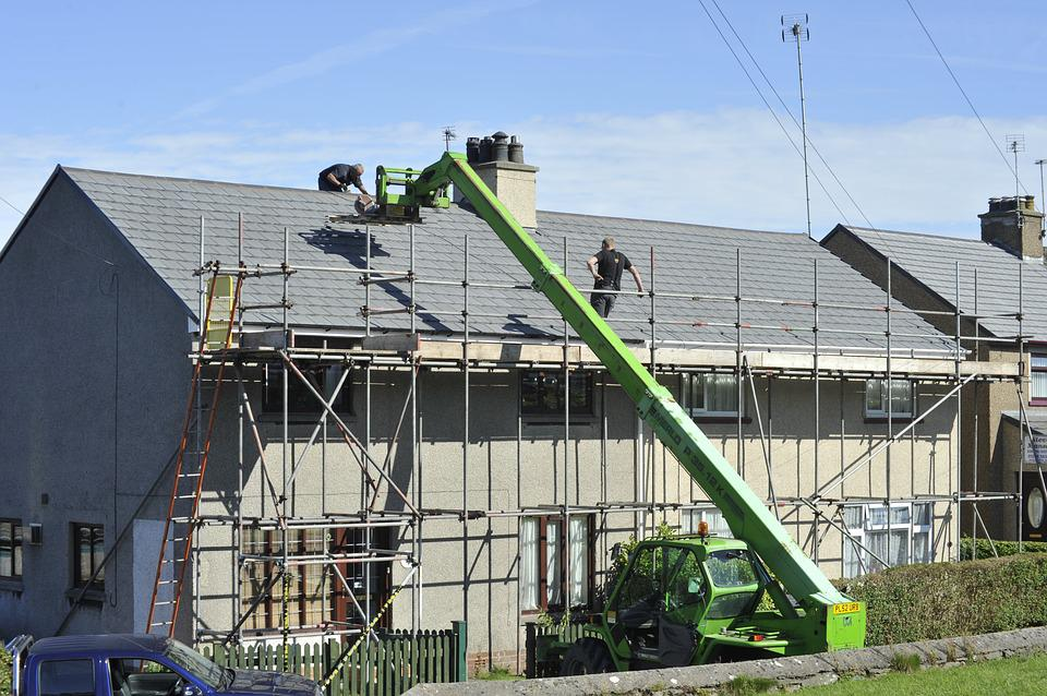 Scaffold, Roof, Tiles, Repair, Building, Construction