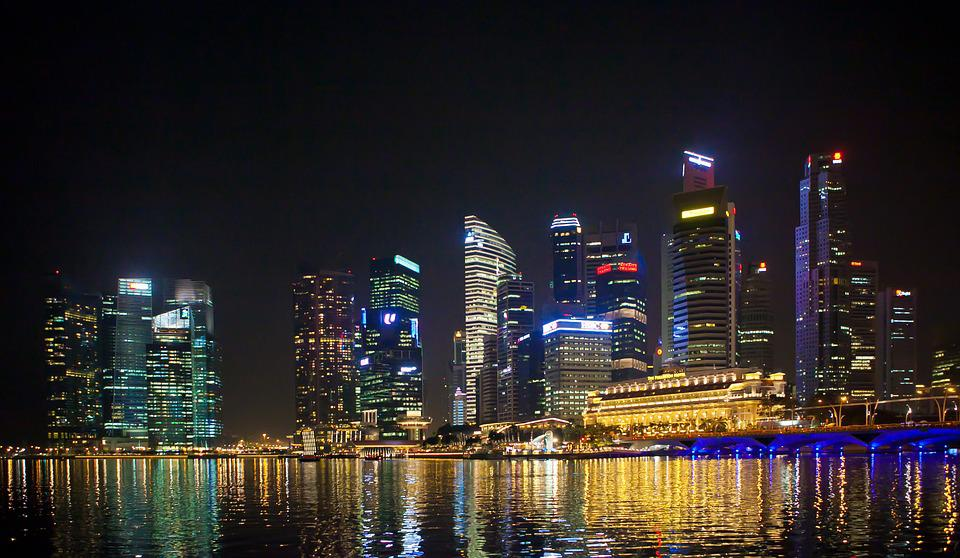 Singapore, Commercial, Night View, Sea, City, Building